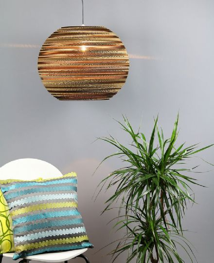 "Large sphere lampshade (20"") made from recycled cardboard"
